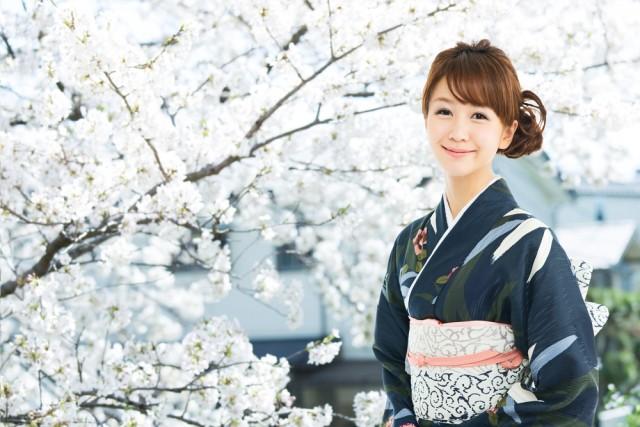 桜をバックにした着物女性